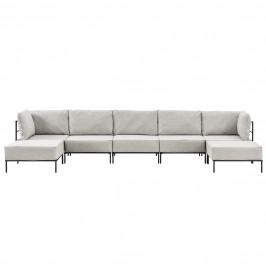 Pohovka / sedacia súprava - variabilná 5 miestna s 2 podnožkami - koženka - sivo-biela
