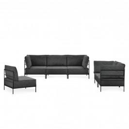 Pohovka / sedacia súprava - variabilná 3 dielna sada - koženka - čierna