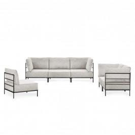 Pohovka / sedacia súprava - variabilná 3 dielna sada - koženka - sivo-biela