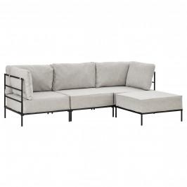 Pohovka / sedacia súprava - variabilná 3 miestna s podnožkou - koženka - sivo-biela