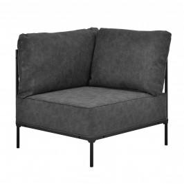 Pohovka / sedacia súprava - rohové kreslo - koženka - čierne