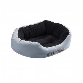 Pelech - pre mačky a psov - s obojstranným vankúšikom - oxford látka / PP-bavlna - 65 x 50 x 23 cm [M] - sivý / čierny