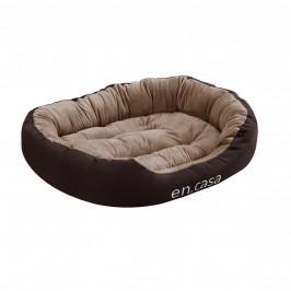 Pelech - pre mačky a psov - s obojstranným vankúšikom - oxford látka / PP-bavlna - 85 x 70 x 23 cm [L] - tmavo hnedý / svetlo hnedý