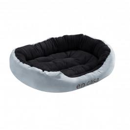 Pelech - pre mačky a psov - s obojstranným vankúšikom - oxford látka / PP-bavlna - 85 x 70 x 23 cm [L] - sivý / čierny