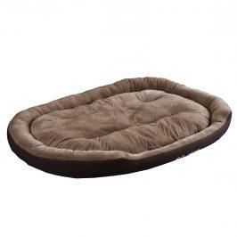 Pelech - pre mačky a psov - s obojstranným vankúšikom - oxford látka / PP-bavlna - 150 x 120 x 23 cm [XXL] - tmavo hnedý / svetlo hnedý