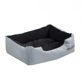 Pelech - pre mačky a psov - s obojstranným vankúšikom - oxford látka / PP-bavlna - 50 x 38 x 17 cm [S] - sivý / čierny