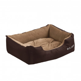 Pelech - pre mačky a psov - s obojstranným vankúšikom - oxford látka / PP-bavlna - 50 x 38 x 17 cm [S] - tmavo hnedý / svetlo hnedý
