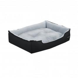 Pelech - pre mačky a psov - s obojstranným vankúšikom - oxford látka / PP-bavlna - 65 x 48 x 18 cm [M] - čierny / sivý