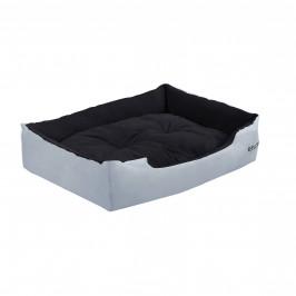 Pelech - pre mačky a psov - s obojstranným vankúšikom - oxford látka / PP-bavlna - 65 x 48 x 18 cm [M] - sivý / čierny