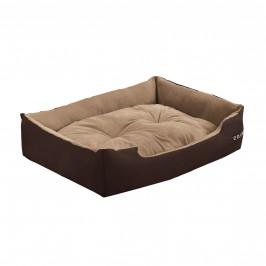 Pelech - pre mačky a psov - s obojstranným vankúšikom - oxford látka / PP-bavlna - 65 x 48 x 18 cm [M] - tmavo hnedý / svetlo hnedý