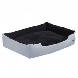 Pelech - pre mačky a psov - s obojstranným vankúšikom - oxford látka / PP-bavlna - 75 x 56 x 19 cm [L] - sivý / čierny