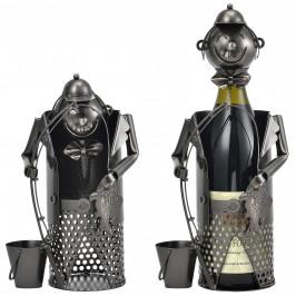 Stojan na víno - 40 - 5 x 15 - 8 x 22 cm -   strieborný