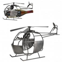 Stojan na víno-helikoptéra -  40 - 5 x 15 - 8 x 22 cm - strieborný