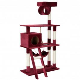 Škrabací strom pre mačky - 70 x 50 x 141 cm - tmavo červený