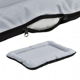 Pelech - pre mačky a psov - so zipsom - oxford látka / PP-bavlna - 80 x 60 cm [L] - sivý / čierny