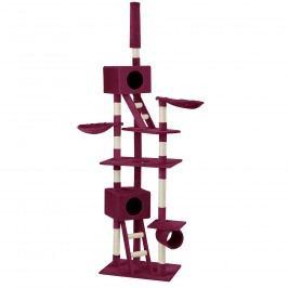 Škrabací strom pre mačky - 70 x 50 x 240 - 260 cm - tmavo červená