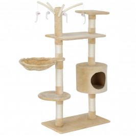 Škrabací strom pre mačky - 65 x 35 x 130 cm - kremový