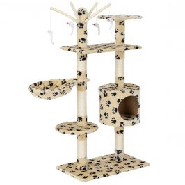 Škrabací strom pre mačky - 65 x 35 x 130 cm - kremový s čiernym vzorom