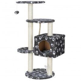 Pelech pre mačky - 40 x 40 x 113 cm- sivý so vzorom