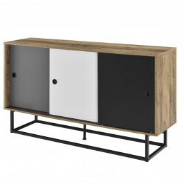 [en.casa] Komoda AANT-0334 - imitácia dreva, čierna, sivá, biela - 140x35x80 cm - MDF, oceľ