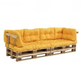 [en.casa]® Paletový nábytok - 2x sedák, 6x vankúš - horčicovo žltá