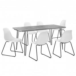 [en.casa]® Jedálenská zostava - 1 x stôl AANT-0312 + 6 x stolička AANE-1201
