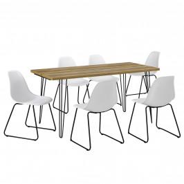 [en.casa]® Jedálenská zostava - 1 x stôl AANT-0311 + 6 x stolička AANE-1201