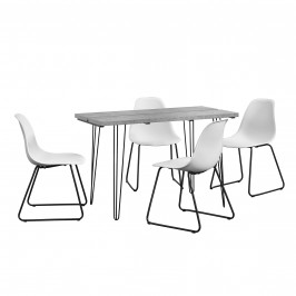 [en.casa]® Dizajnový jedálenský stôl - imitácia betónu + 4 ks stoličiek - biele