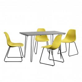 [en.casa]® Dizajnový jedálenský stôl - imitácia betónu + 4 ks stoličiek - horčicovo žlté