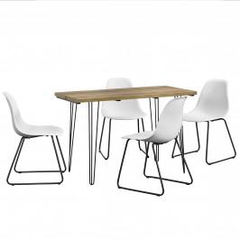 [en.casa]® Dizajnový jedálenský stôl - imitácia dreva + 4 ks stoličiek - biele