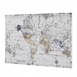 [art.work] Dizajnový obraz na stenu - tlač na pergamenový papier - mapa sveta 2 - napnutý na ráme - 60x90x3,8 cm
