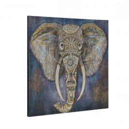 [art.work] Dekoratívny obraz na stenu - slon 2 - plátno napnuté na ráme - 80x80x3,8 cm