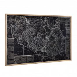 [art.work]® Dizajnový obraz na stenu - hliníková doska - mapa Grand Canyonu - zarámovaný - 80x120x3,8 cm