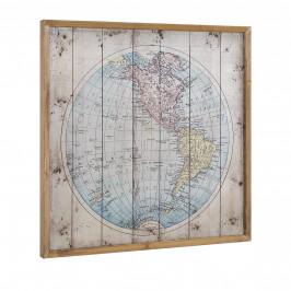 [art.work]® Dizajnový obraz na stenu - hliníková doska - mapa Ameriky - zarámovaný - 60x60x2,8 cm