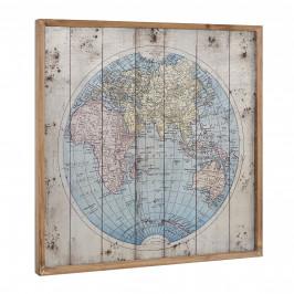 [art.work]® Dizajnový obraz na stenu - hliníková doska - mapa sveta - zarámovaný - 60x60x2,8 cm