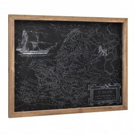 [art.work] Dizajnový obraz na stenu - na striebornom PVC podklade   - mapa Európy - zarámovaný - 60x80x2,5 cm