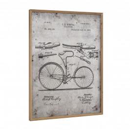 [art.work] Dizajnový obraz na stenu - hliníková doska - bicykel (nákres) - zarámovaný - 80x60x2,8 cm