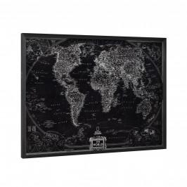 [art.work] Dizajnový obraz na stenu - hliníková doska - mapa sveta - zarámovaný - 60x80x2,8 cm