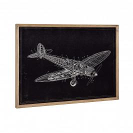 [art.work] Dizajnový obraz na stenu - hliníková doska - lietadlo (nákres) - zarámovaný - 50x70x2,8 cm