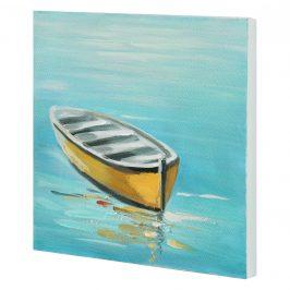 [art.work] Ručne maľovaný obraz - čln - plátno napnuté na ráme - 30x30x2,8 cm