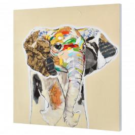 [art.work] Ručne maľovaný obraz - slon 2 - plátno napnuté na ráme - 80x80x3,8 cm