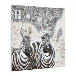 [art.work] Ručne maľovaný obraz - zebry - plátno napnuté na ráme - 100x100x3,8 cm
