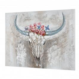 [art.work] Ručne maľovaný obraz - býk - plátno napnuté na ráme - 90x120x3,8 cm