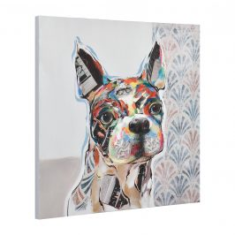 [art.work] Ručne maľovaný obraz - francúzsky bulldog - plátno napnuté na ráme - 80x80x3,8 cm