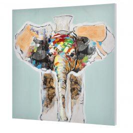 [art.work] Ručne maľovaný obraz - slon - plátno napnuté na ráme - 80x80x3,8 cm