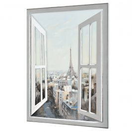 [art.work] Ručne maľovaný obraz - výhľad z okna 2 (svetlý) - plátno napnuté na ráme - 120x90x3,8 cm