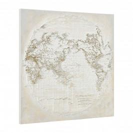 [art.work] Ručne maľovaný obraz - zemeguľa - plátno napnuté na ráme - 100x100x3,8 cm