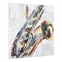 [art.work] Ručne maľovaný obraz - saxofón - plátno napnuté na ráme - 100x100x3,8 cm