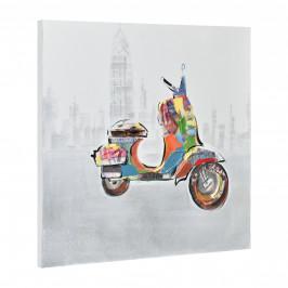 [art.work] Ručne maľovaný obraz - skúter 3 - plátno napnuté na ráme - 60x60x3,8 cm