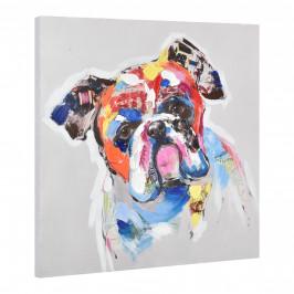 [art.work] Ručne maľovaný obraz - bulldog - plátno napnuté na ráme - 60x60x3,8 cm